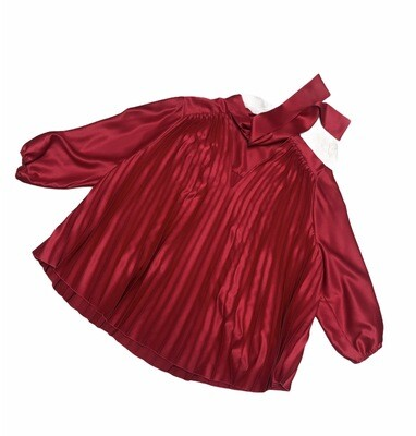New THE LIMTED Red Accordion Pleat Swing Blouse 1X