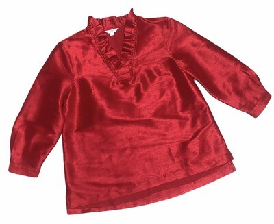CROWN & IVY  Red Rayon Ruffle Accent Tunic Blouse Small