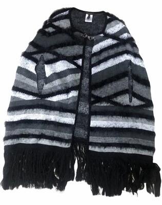 BCBG Max Azria Black & Gray Poncho Shawl size L/XL