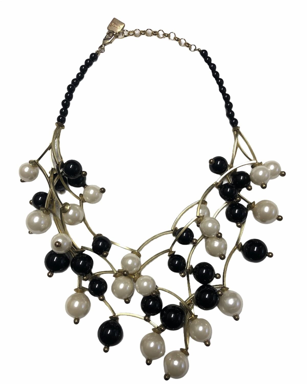 ZENZI Black Bead & Pearl Abstract Statement Necklace