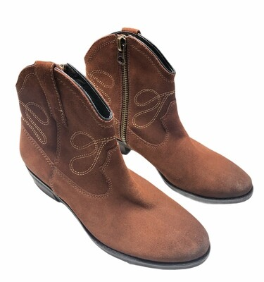 New VAN ELI Epium Brown Cowboy Western Ankle Boots size 9