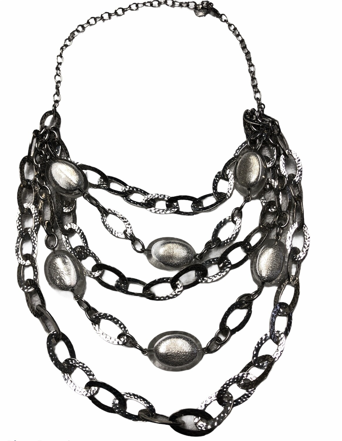 GRAZIANO 5-Strand Link & Bead Statement Necklace