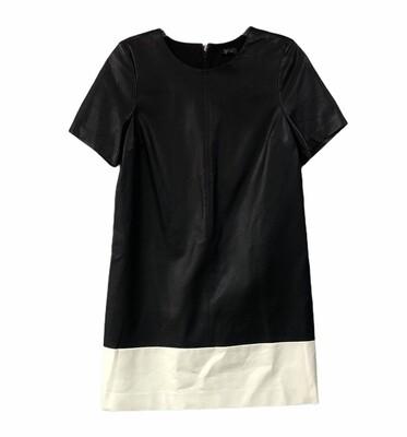 THE LIMITED Black & Cream Faux Leather Mini Shift Dress size Medium $129