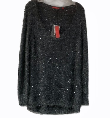 New RED Smoked Pearl Fuzzy Sequin Sweater size Large