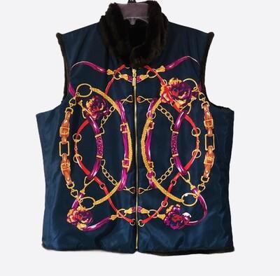 CHARTER CLUB Equestrian Design Faux Fur Reversible Vest Petite XL