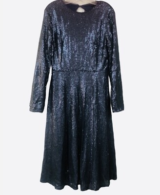 NEW TFNC London Midnight Blue Sequin Open Back Cocktail Dress size 16