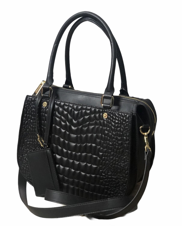 New STEVE MADDEN Jazmine Black Reptile Satchel Bag $98