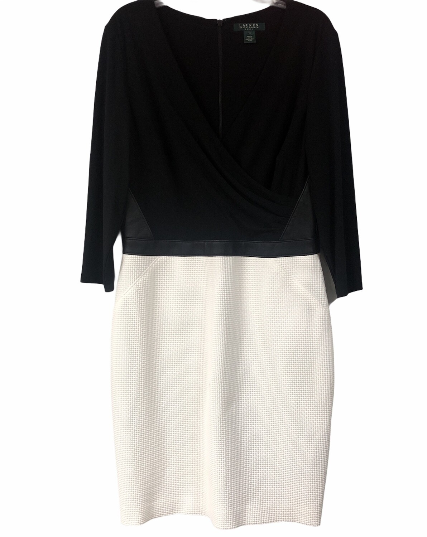 ~LAUREN~ Ralph Lauren Black w/ Cream Waffle Textured Wrap Style Dress size 14