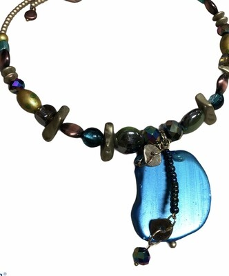 Abstract Multi Color Bead Hugging Choker Necklace