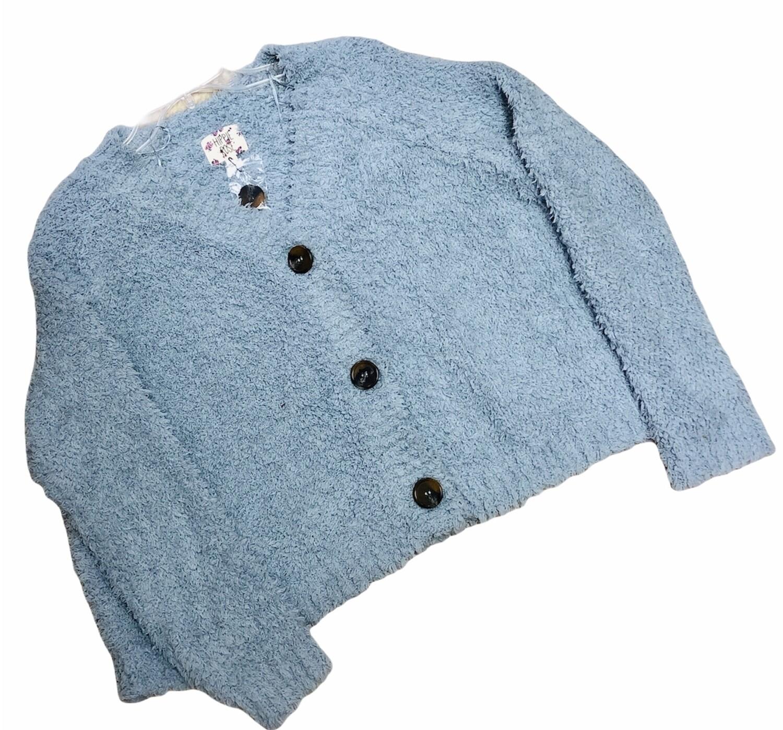 New HIPPIE ROSE Baby Blue Shaggy Sherpa Oversized Cardigan Sweater Medium