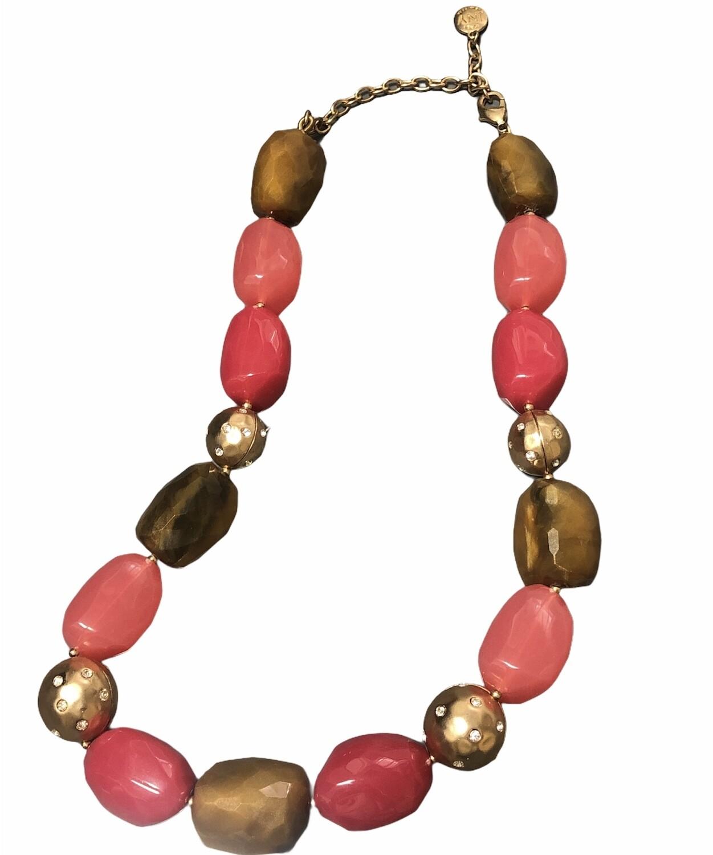 Jones New York Pink & Gold Bead Chunky Statement Necklace
