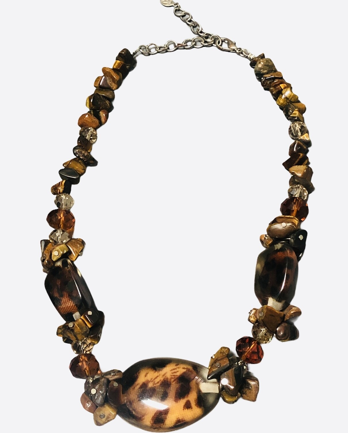Animal Bead Necklace with Tiger Eye & Crystal Accent