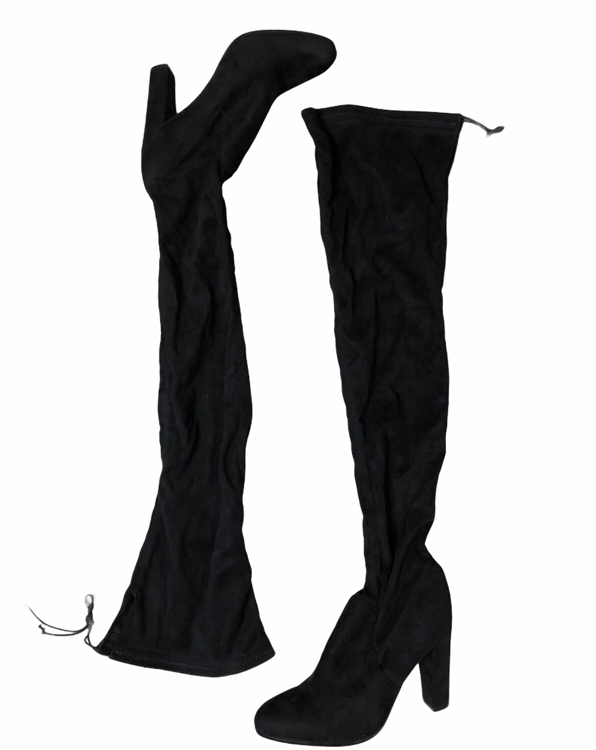 """TONY BIANCO """"Tash"""" Black Suede Over-The-Knee Thigh-Hi Drawstring Stretch Boots size 9 $182"""