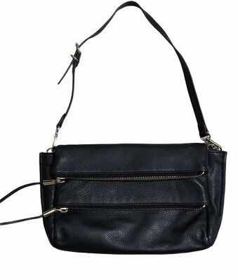 VINCE CAMUTO Black Pebble Leather Double Zipper Compartment Shoulder Bag