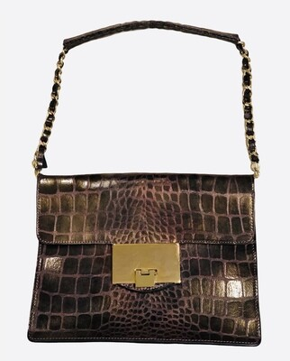 ALBERTA DI CANIO Italy Irridescent Embossed Leather Shoulder Bag