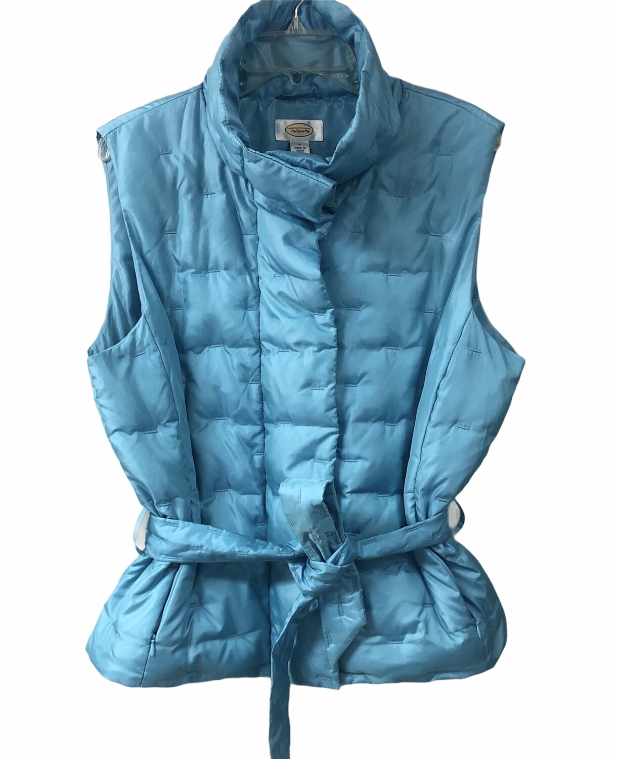 TALBOTS Aqua Blue Quilted Belted Goose Down Puff Vest size Large