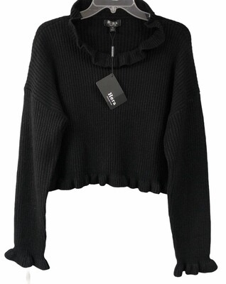 New HERA Collection Black  Ribbed Ruffle Crop Sweater size 1XL