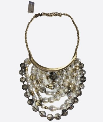 NEW CHICOS MULTI STRAND PEARL & BEADED STATEMENT NECKLACE $69.50