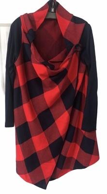 CROWN & IVY Buffalo Plaid Knit Wrap Sweater Jacket size PL