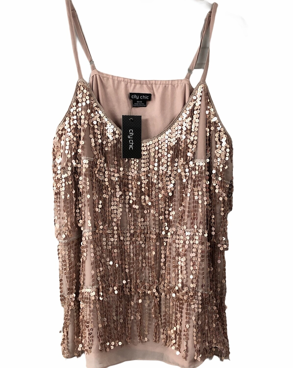 New CITY CHIC Rose Gold Sequin Fringe Tank size 18, $69