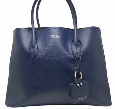 TEDDY BLAKE Navy Satchel Blue Handbag