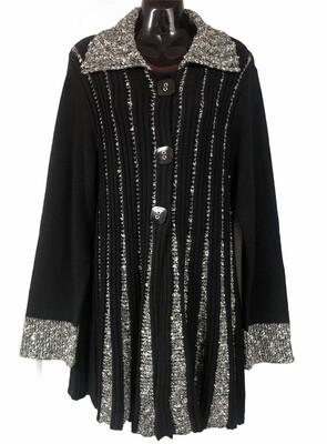 LISA Internation B/W Ribbed Flair Knit Cardigan Sweater XL