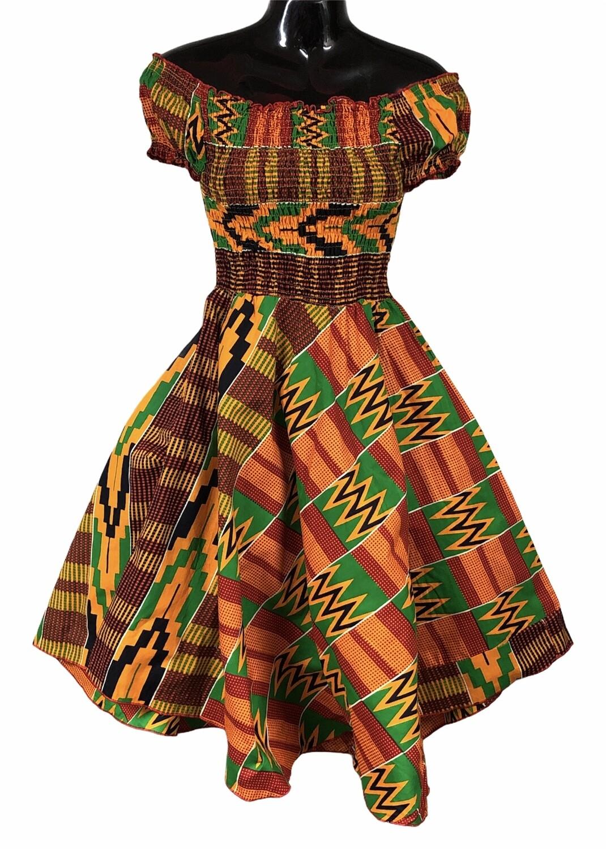 KENTE PRINT Off-The-Shoulder DRESS S/M