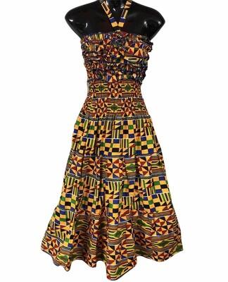 Custom Kente Print Ruffle Halter Tie Dress size S/M