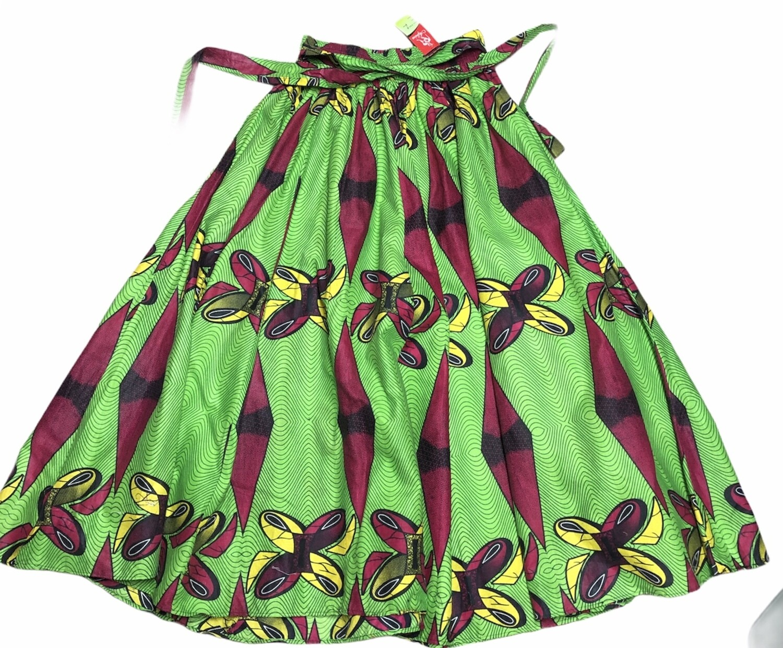 "New ""AFRICA"" Vibrant Ethnic Green Print Maxi Skirt Large/XL"