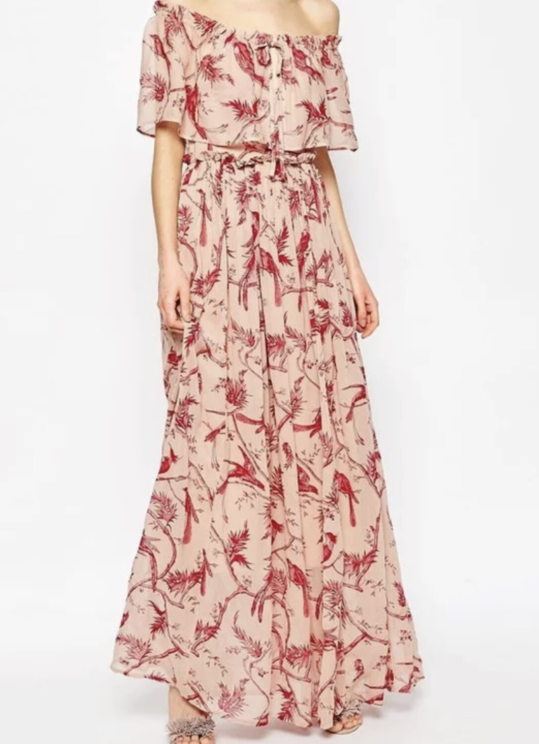 ASOS Nude Red Bird Off-The-Shoulder Maxi Dress 6