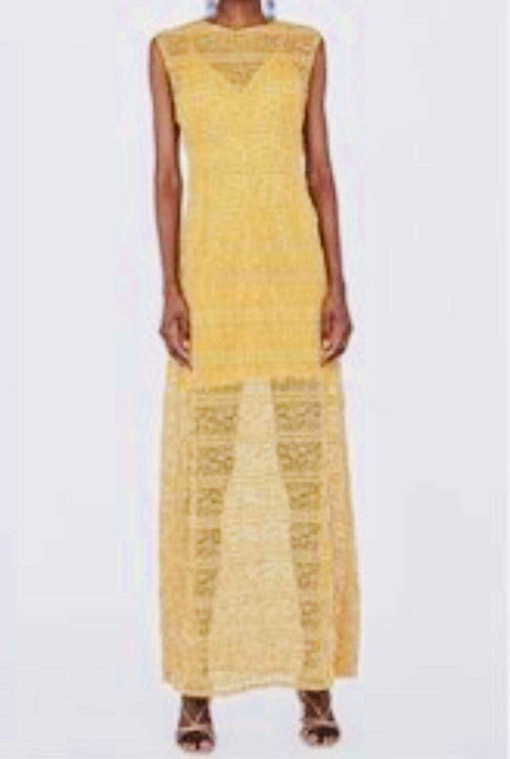 ZARA Collection Golden Tiered Lace Maxi Dress Small
