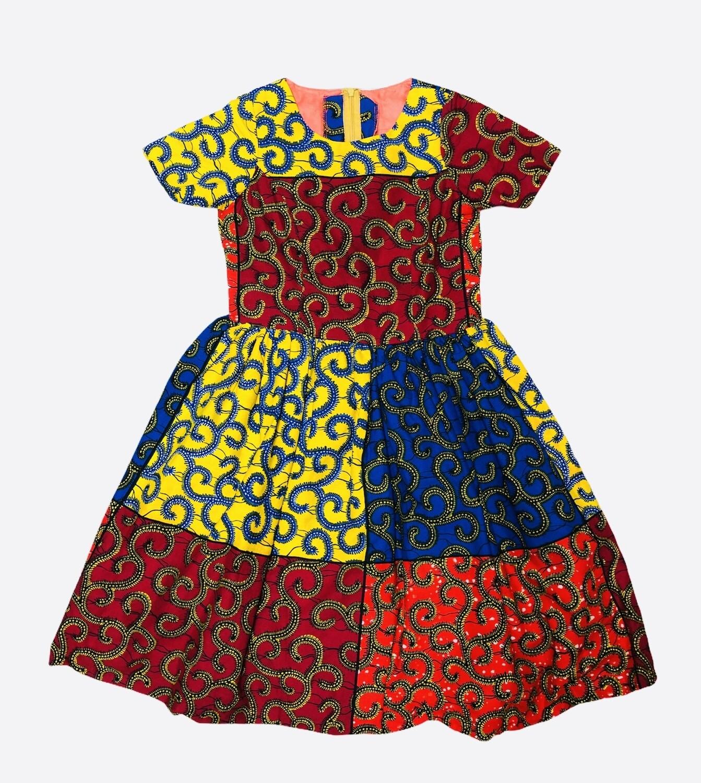 Custom Girls Ethnic Multi Color Patchwork Flair Dress 10/12