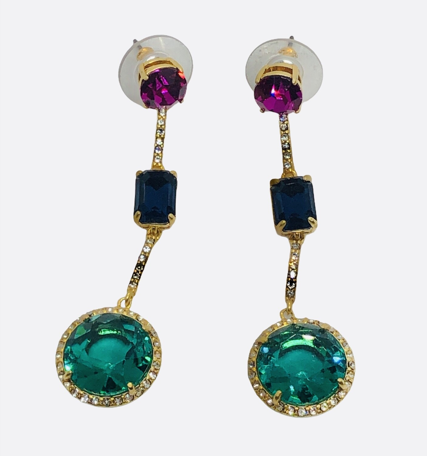 NEW Multicolored Gem and Rhinestone Earrings
