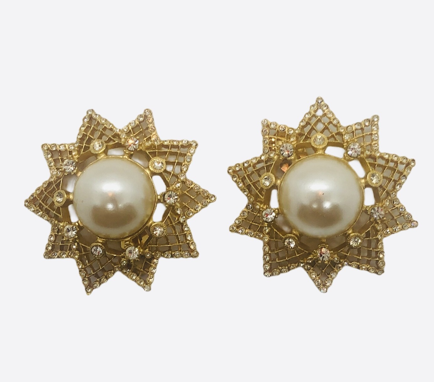 NEW Rhinestone and Pearl Large Star Clip Statement Earrings