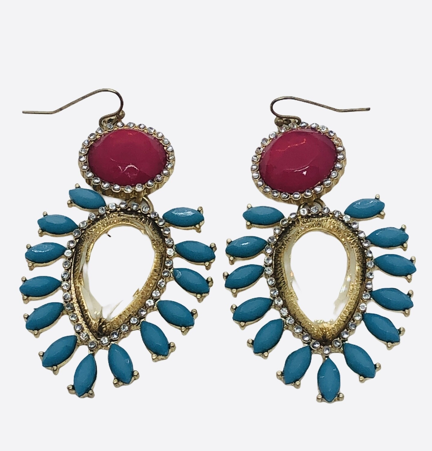 Turquoise and Rhinestone Gold Drop Earrings