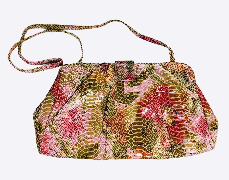HOBO INT'L Snake Embossed Suede Mixed Pink Clutch/Shoulder Bag