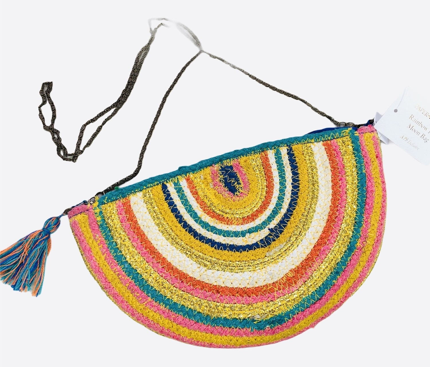 New PAPER SOURCE Multi Color Half Moon Bag