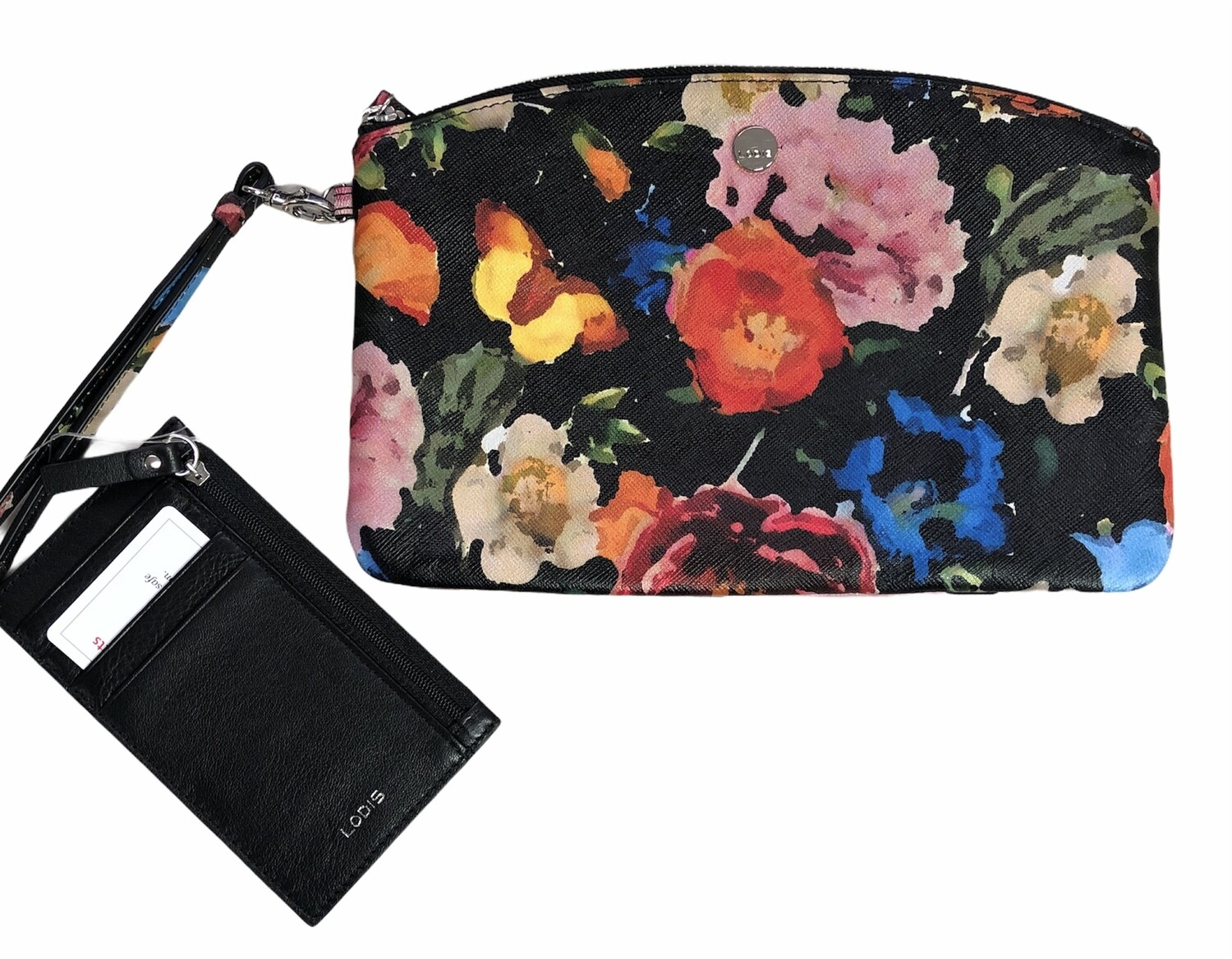 New LODIS Floral Leather Wristlet Pouch  with Black Leather Card Slot