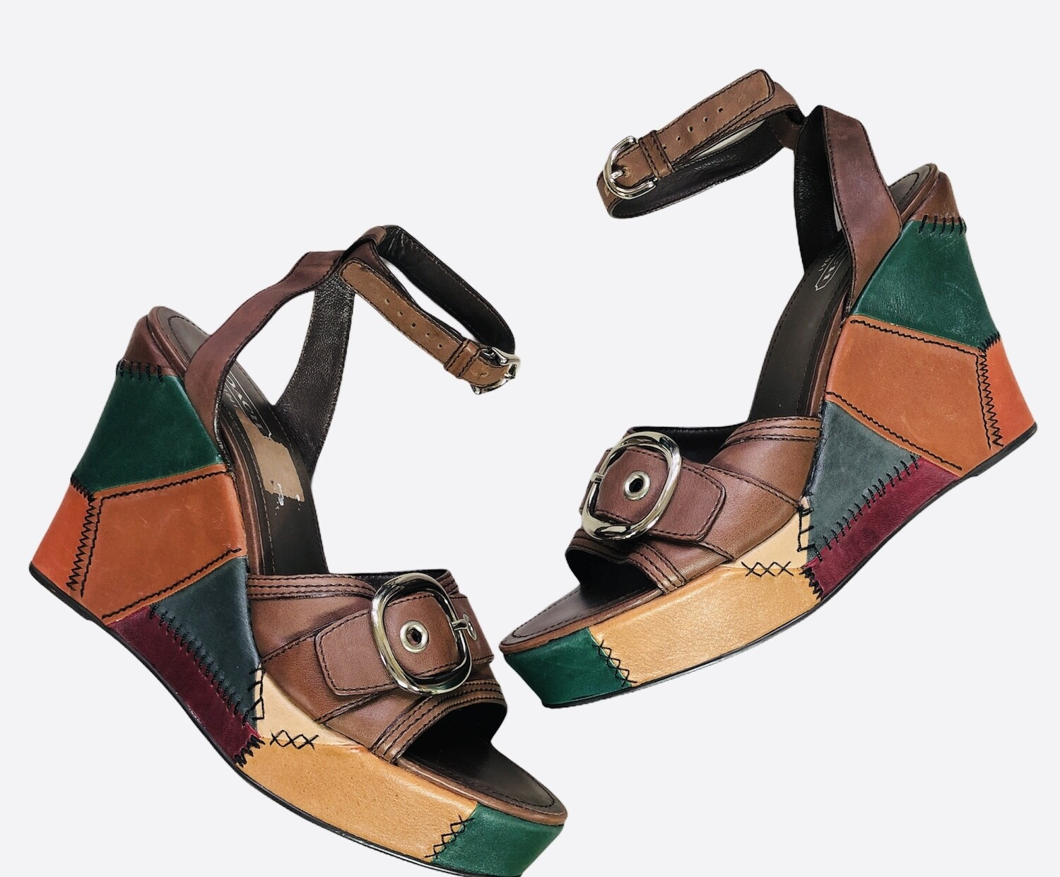 "COACH ""Kayle"" Leather Patchwork Platform Wedge Sandals size 11"