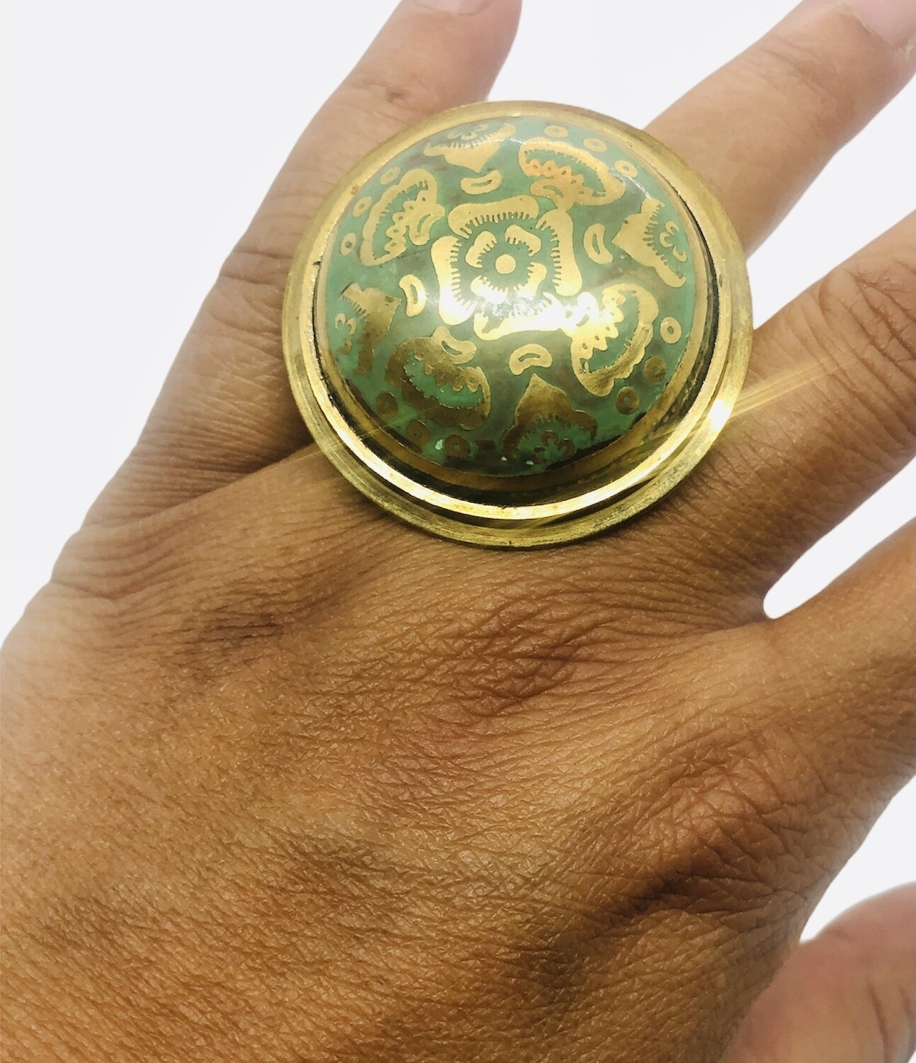 Abstract Brass Dome Ring