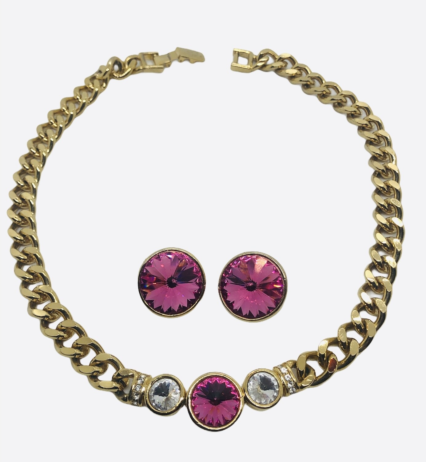 Gold Crystal & Rhinestone Necklace and Earring Set