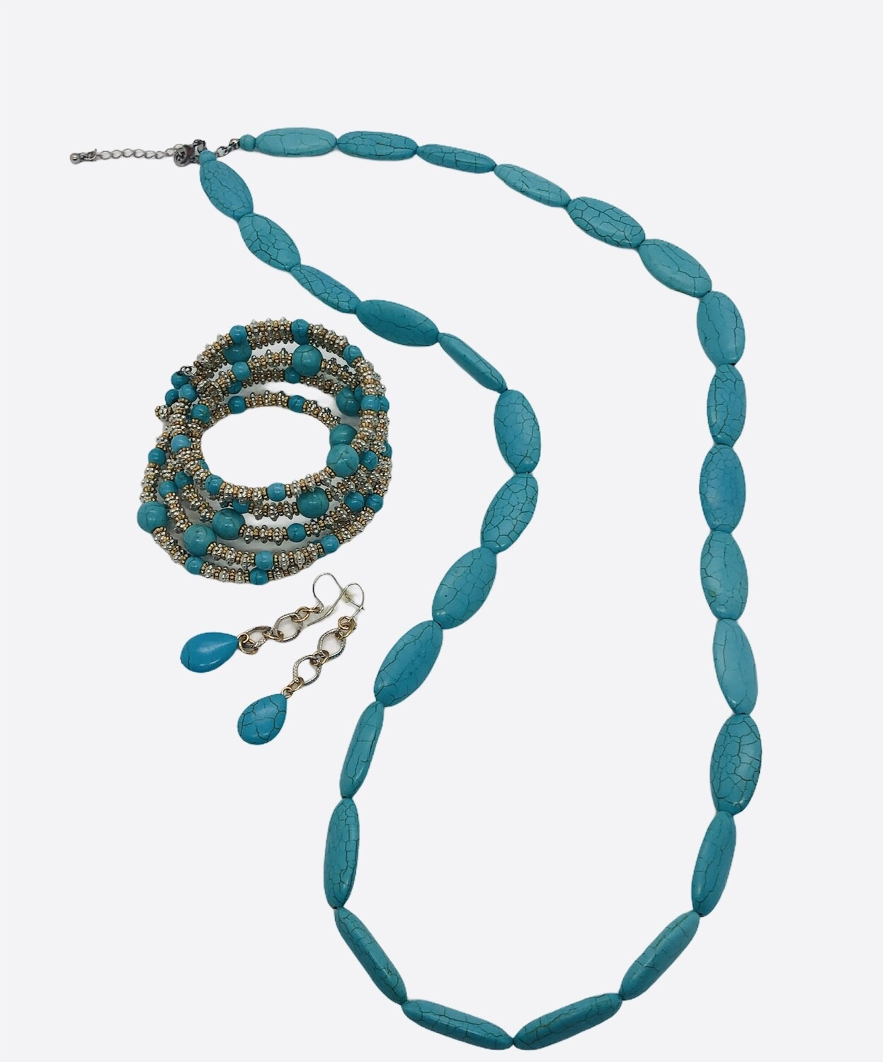 3pc Turquoise Necklace Jewelry Set