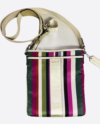 COACH Multi Color Stripe & Gold Leather Crossbody Handbag