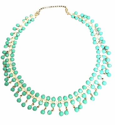 Green Beaded And Rhinestone Collar Necklace