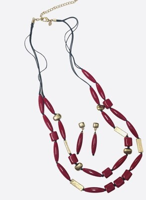 CHICOS Red & Gold Bead Double Strand Necklace and Earring Set