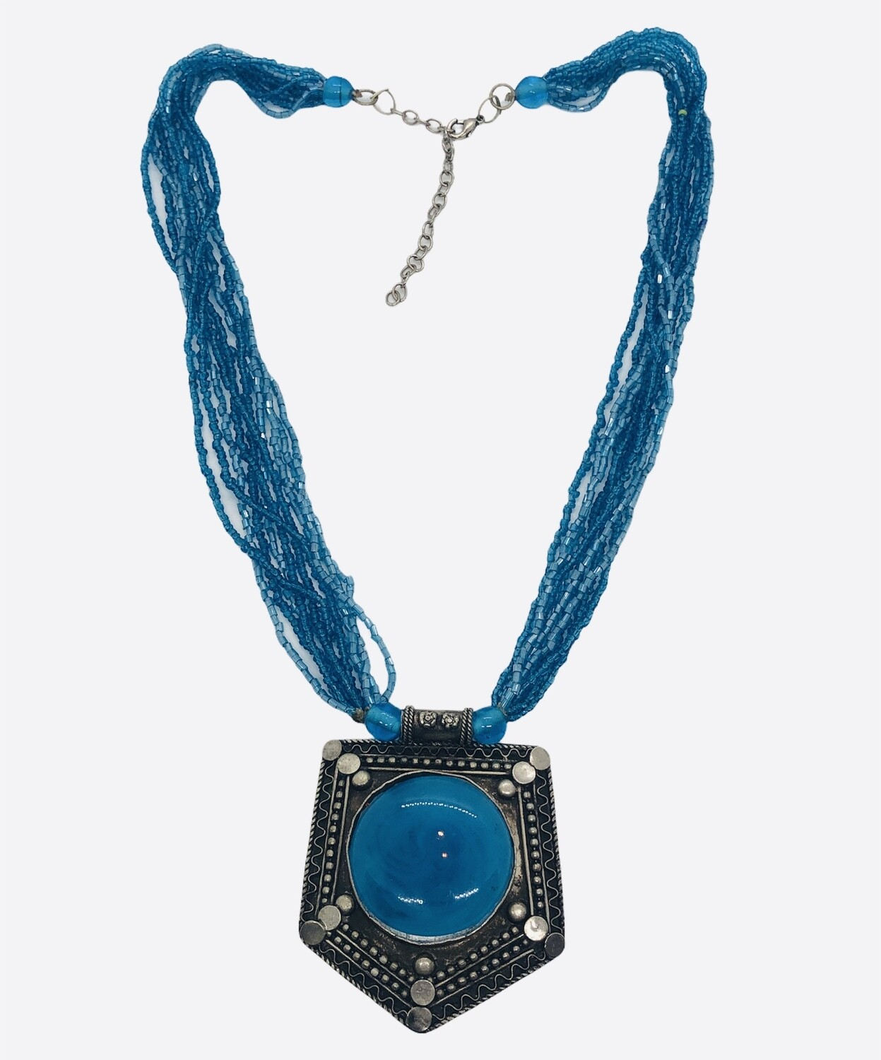 Silver & Blue Beaded Statement Necklace