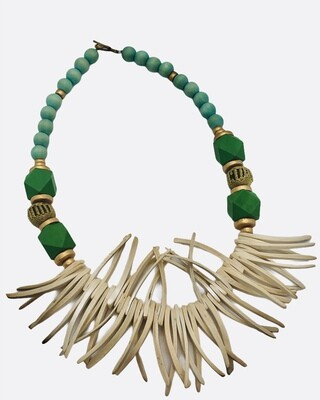 Abstract Green Wood Carved Statement Necklace
