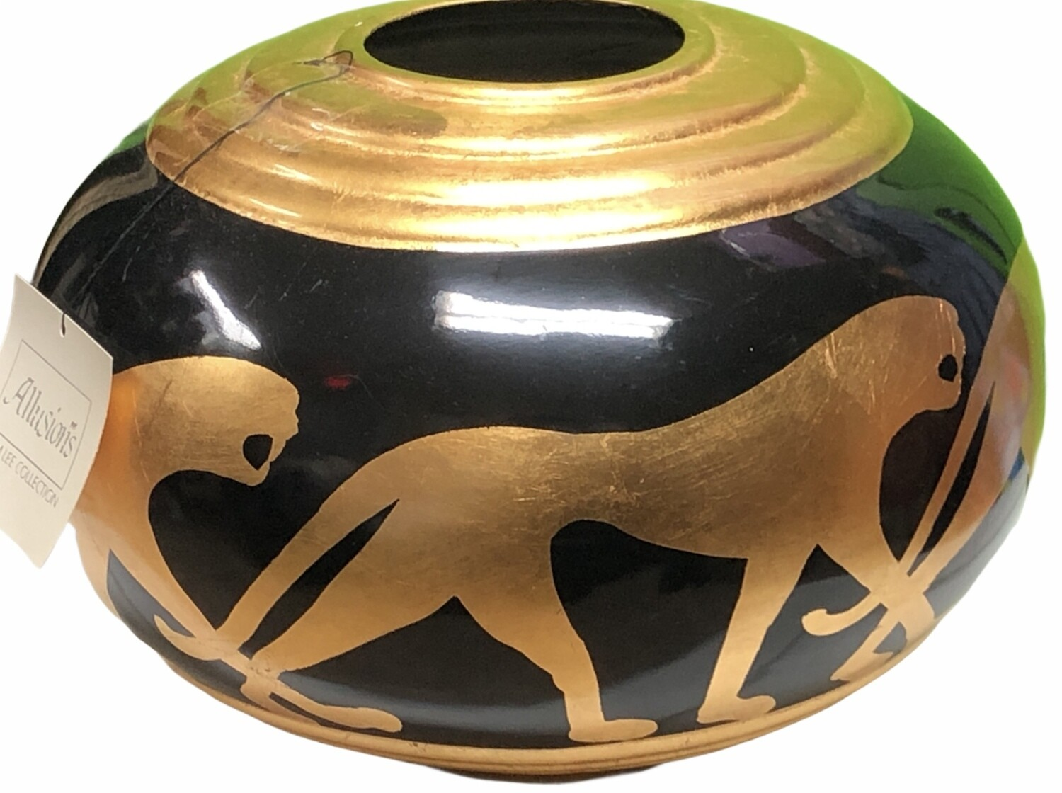New Vintage ALLUSIONS Lam Lee Collection Black & Gold Panther Planter $250 circa 1996