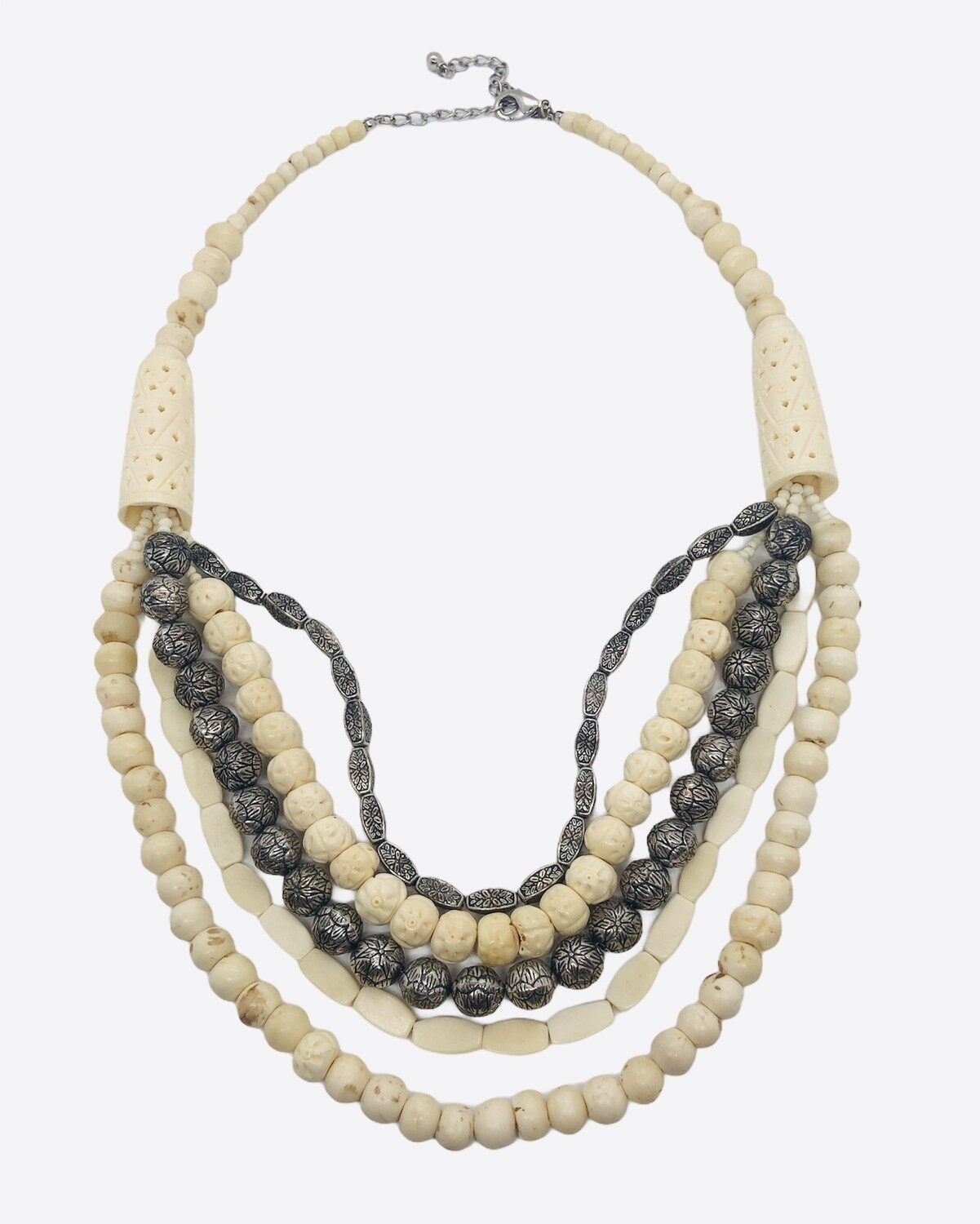 CHICOS Etched Bone & Silver Multi Strand Necklace