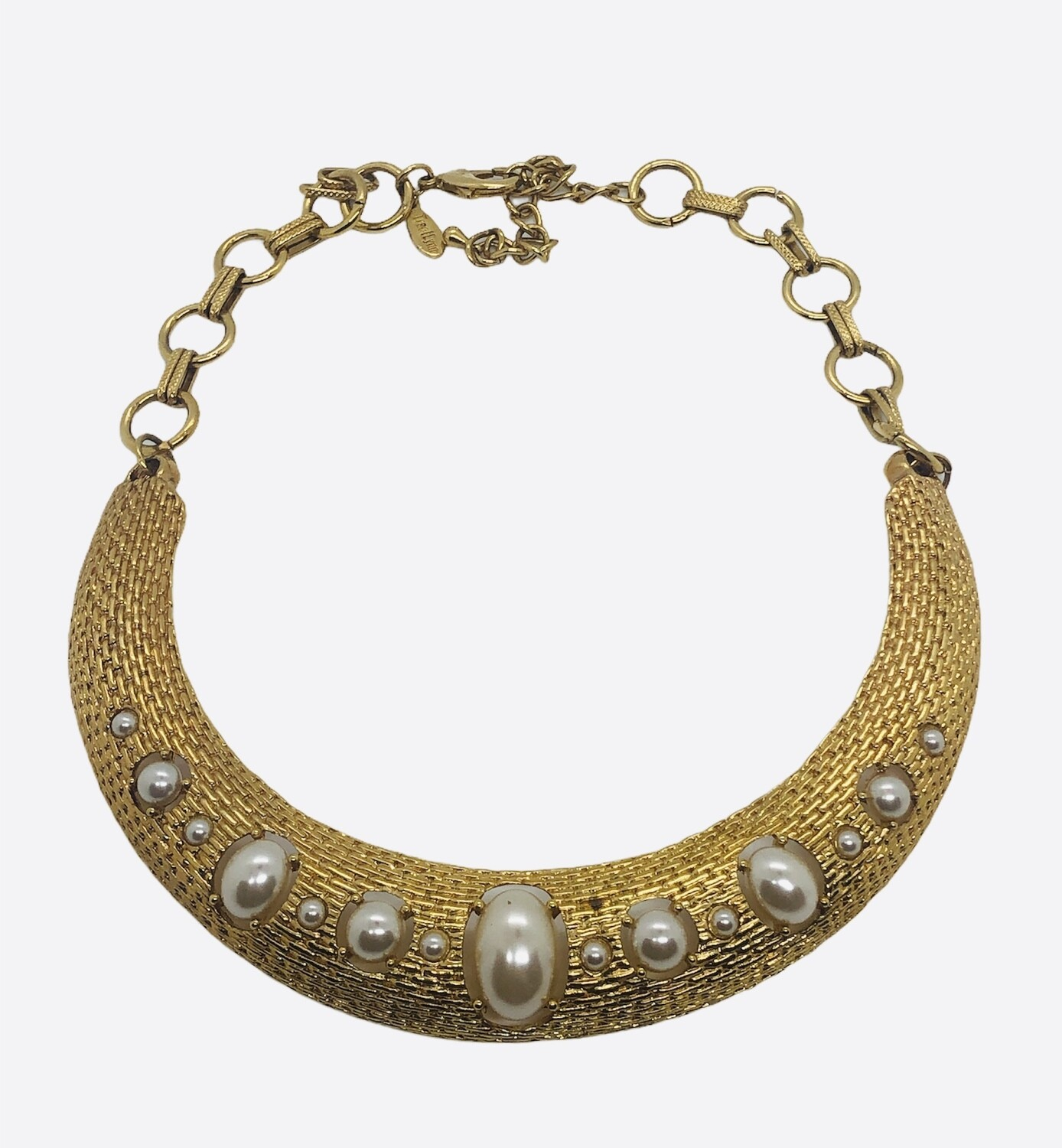 Gold and Pearl Statement Collar Necklace